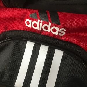 Adidas black and red athletic utility bag